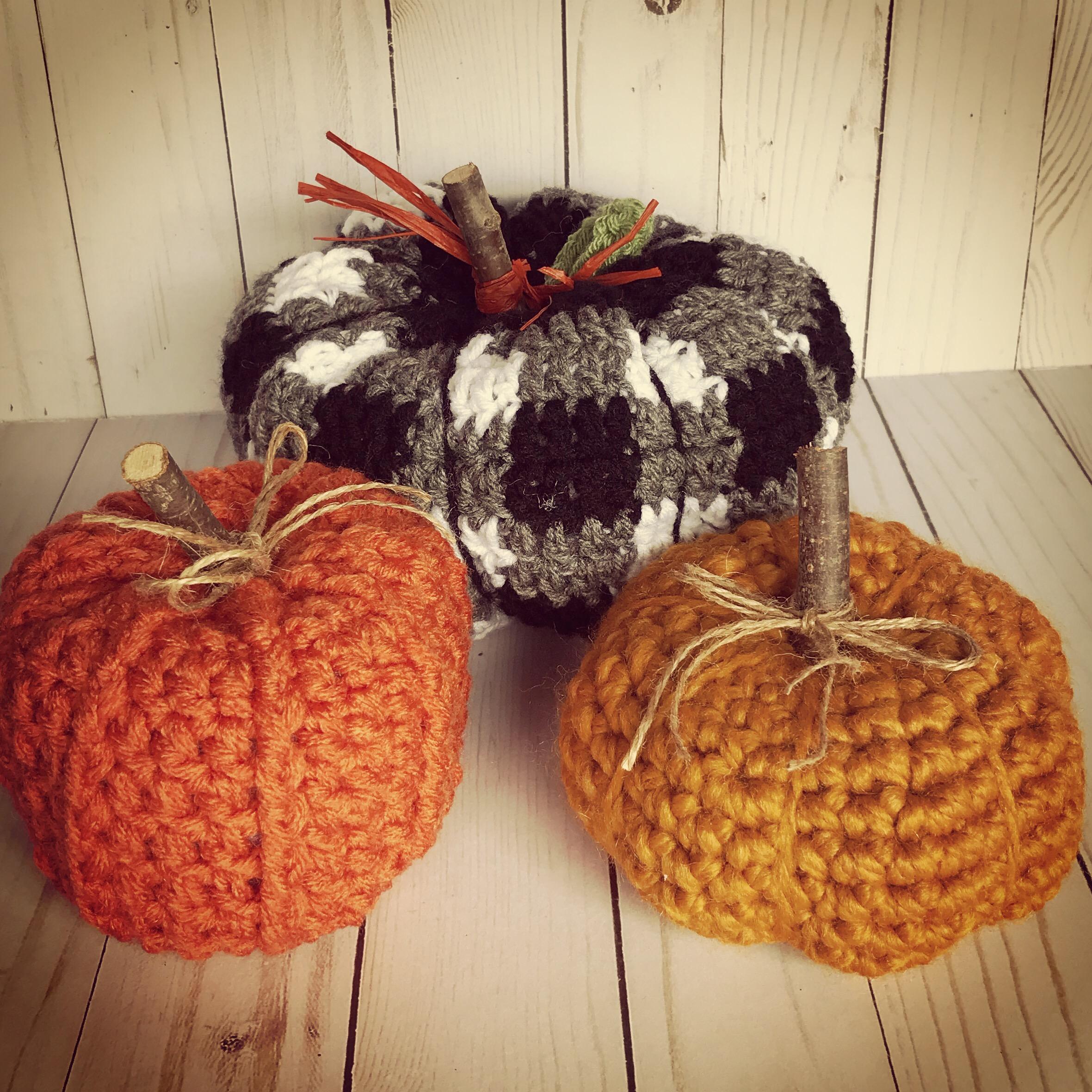 Farmhouse Homemade Country Crochet Pumpkins