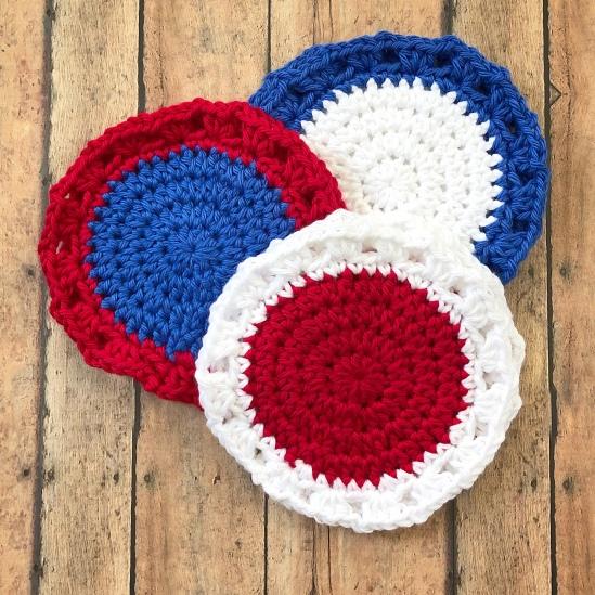 Crochet Patriotic Coasters Creating Me